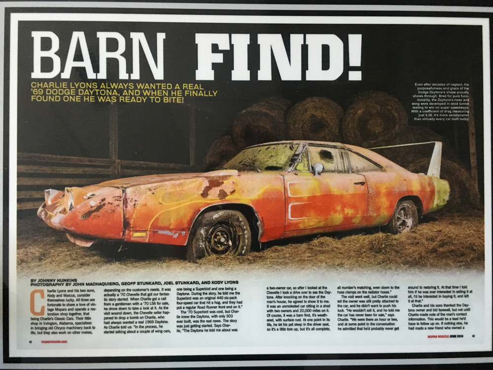 This Is The Main Complete Story Of 1969 Dodge Daytonas From Day We Found It To Sold At Mecum Auctions Covered By Mopar Magazine