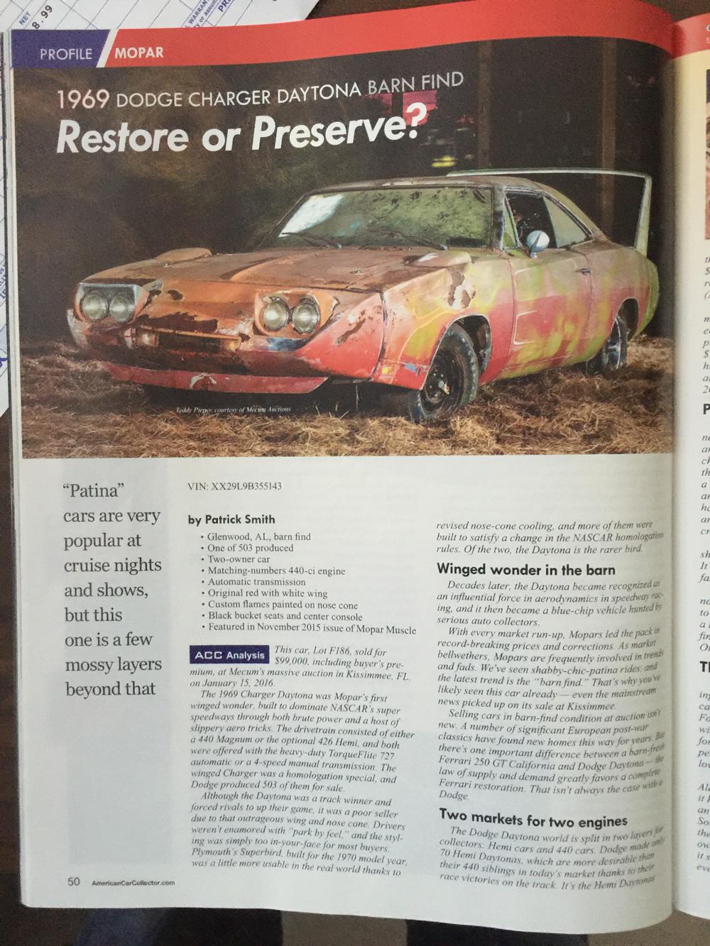 1969 Dodge Charger Daytona Barn Find Restore or Preserve ...