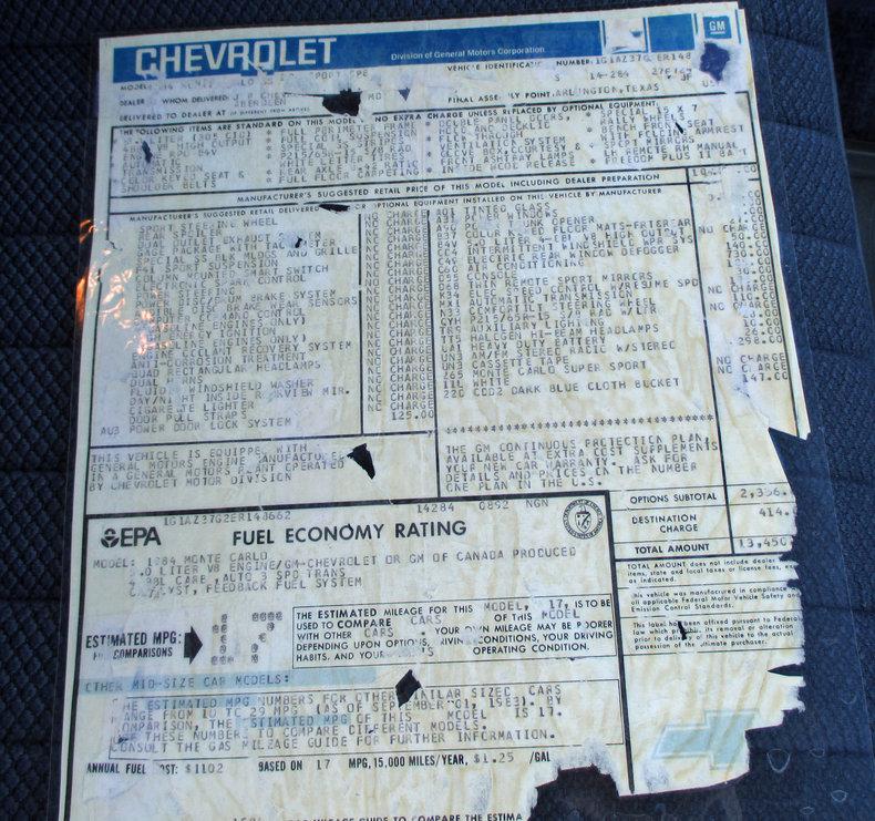 1984 1984 Chevrolet Monte Carlo For Sale
