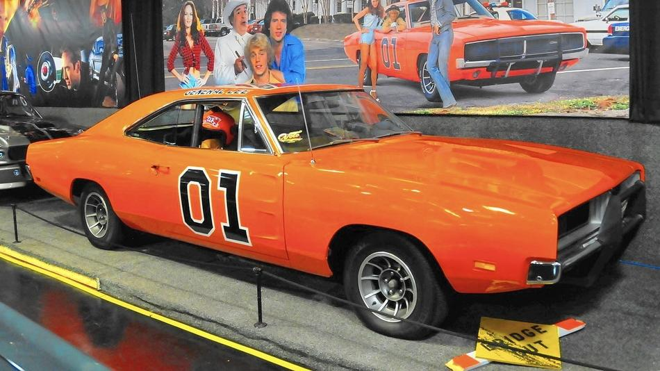 The 1969 Dodge Charger, dubbed 'The General Lee' from the TV series 'The Dukes of Hazzard', sits on display at the Volo Auto Museum.