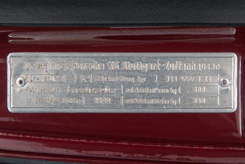 1970 Porsche 911 T , BURGUNDY, VIN 9110122718, MILEAGE 2452