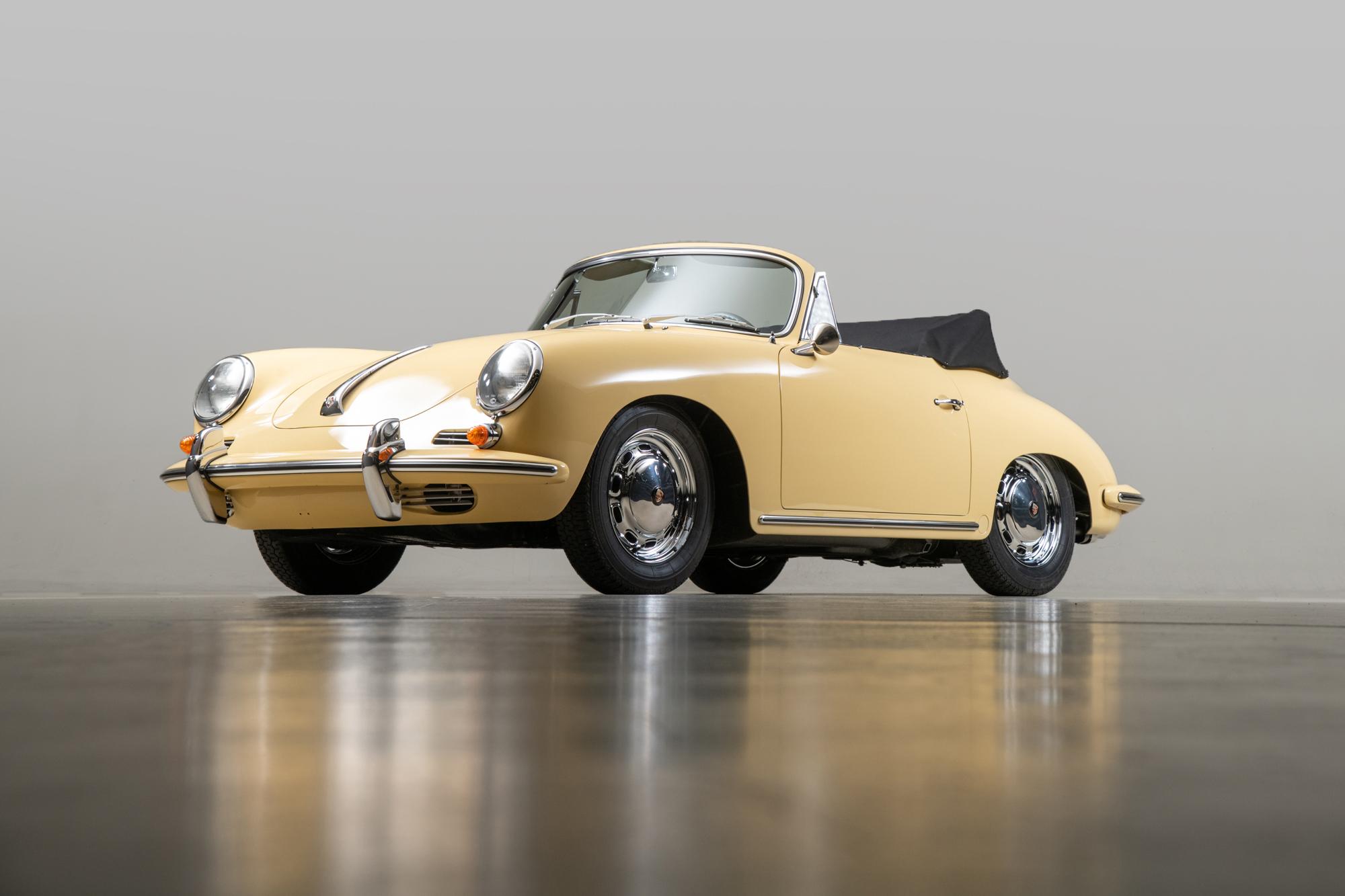 1965 Porsche 356SC Cabriolet , CHAMPAGNE YELLOW, VIN 161040, MILEAGE 28209