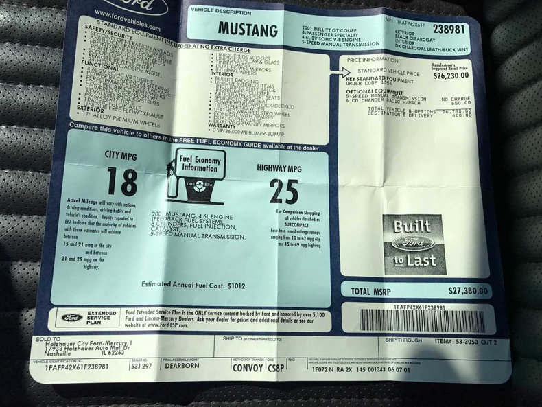 2001 Ford Mustang Bullitt