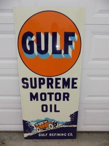 Norwalk Auto Auction >> Gulf Supreme Motor Oil Sign   GAA Classic Cars