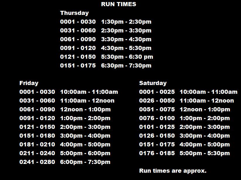 Run Times Mar 2018