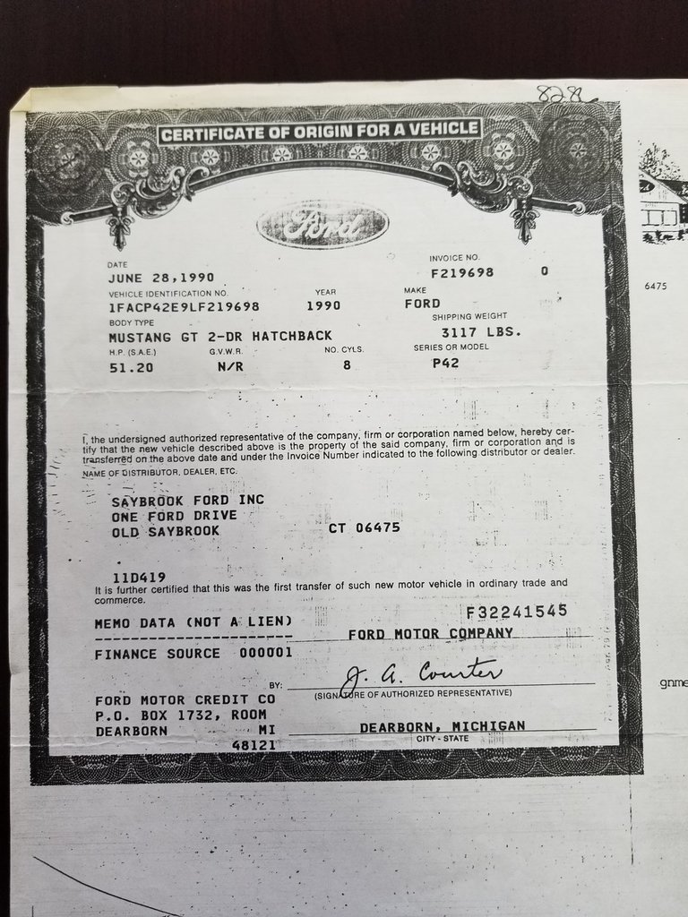 Ford Mustang My Classic Garage - Mustang gt invoice