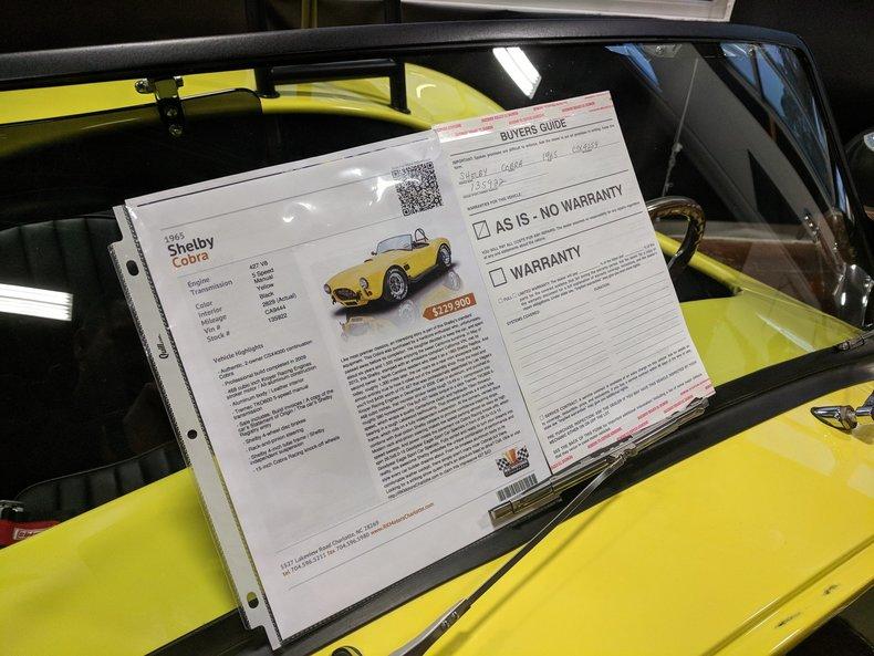 1965 Shelby Cobra CSX 4000: 1965 Shelby Cobra CSX 4000 2828 Miles Yellow Roadster 427 V8 5 Speed Manual