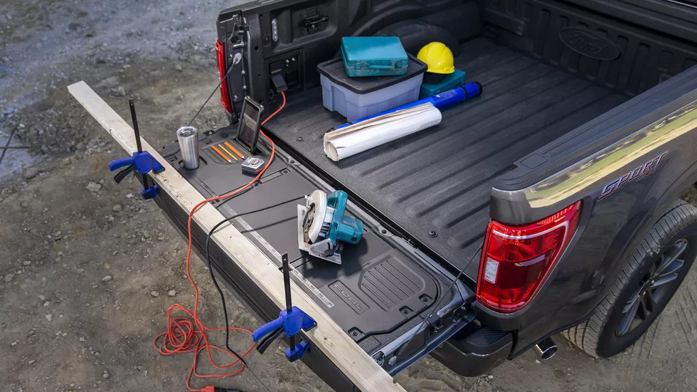 This tailgate features C-clamp slots, tie-down cleats, a tablet holder and even bottle openers.  Ford