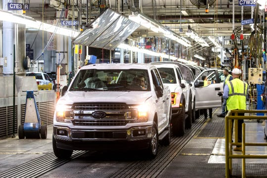 Ford F-150 trucks come off the assembly line at the Ford Rouge Plant in Dearborn on Thursday, September 27, 2018. (Photo: Ryan Garza, Detroit Free Press)
