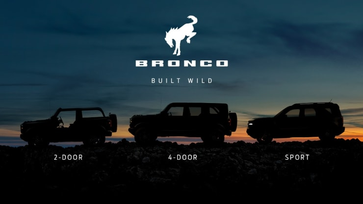"""Ford released a teaser image of its new """"family"""" of Bronco SUVs on July 6, 2020 -- a week ahead of when the vehicle's are expected to debut. Ford"""