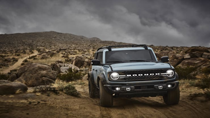 The 2021 Bronco four-door Badlands series with available Sasquatch off-road package in cactus Gray. Ford