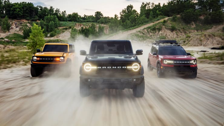 The new 2021 Bronco family of SUVs include the Bronco two-door, Bronco four-door and Bronco Sport (left to right). Ford