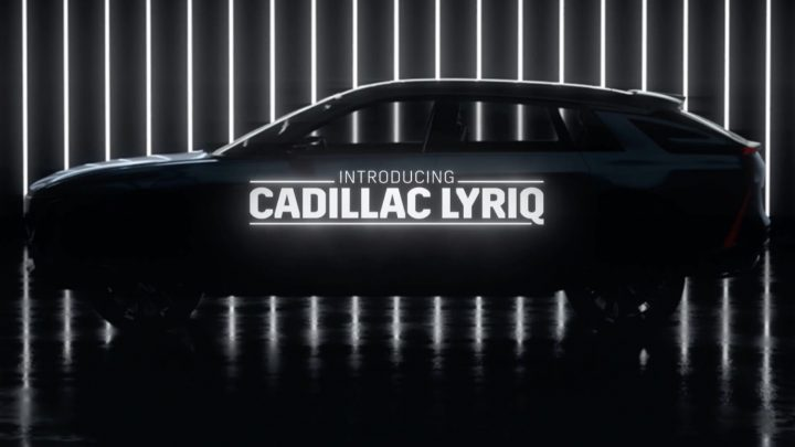 Teaser for the upcoming Cadilly Lyriq EV crossover, slated to debut next week