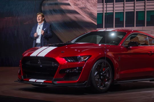Jim Farley introduced the new 2020 Mustang Shelby GT 500 during the 2019 North American International Auto Show held at Cobo Center in downtown Detroit. (Photo: Ryan Garza, Detroit Free Press)