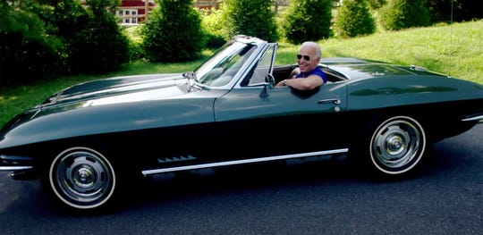 A screen capture from a Joe Biden video campaign ad on YouTube titled 'Joe Biden Gets Vetted,' spills the beans on a future electric Corvette model. (Photo: Biden campaign)