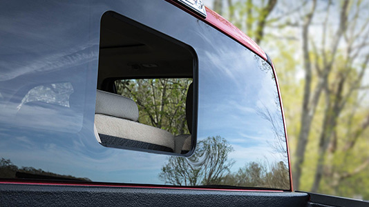The sliding rear window on the 2021 Ford F-150