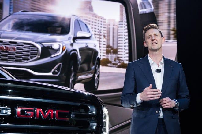 Global GMC Vice President Duncan Aldred unveils the 2019 Sierra AT4 in 2018 in New York City. -- Steve Fecht, Steve Fecht For GMC