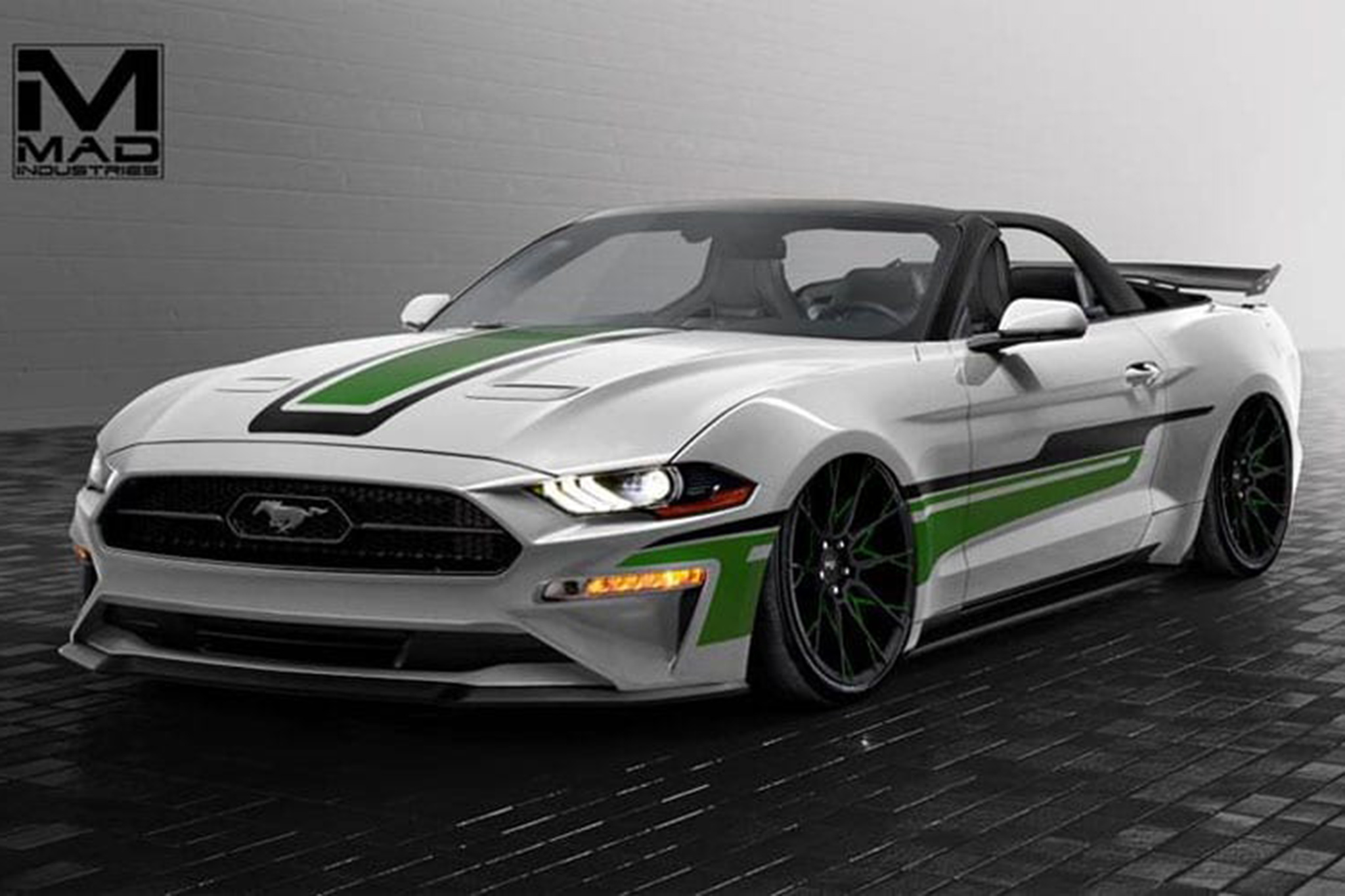 Heres another rad mustang from the mad mad minds at mad industries for drop top fans the white with green and black graphics convertible packs a re tuned