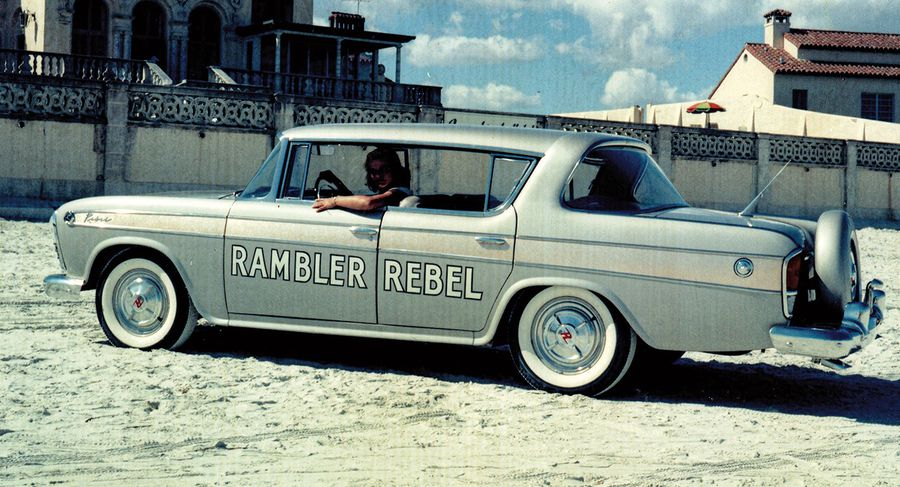 The Rambler hardtops featured extra reinforcing in the body sills, quarter panels, and door posts to ensure a minimum of body flex. This Rebel is pictured on the beach at Daytona.