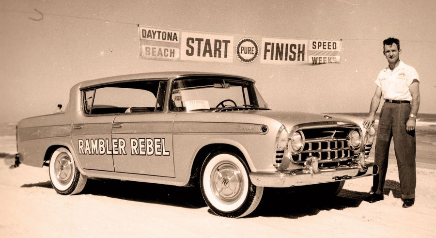 This press photo shows the Rebel at the start/finish line, but carries no identification of who the man standing next to the car is. The Rebel was clocked doing 0-60 mph in 7.5 seconds.