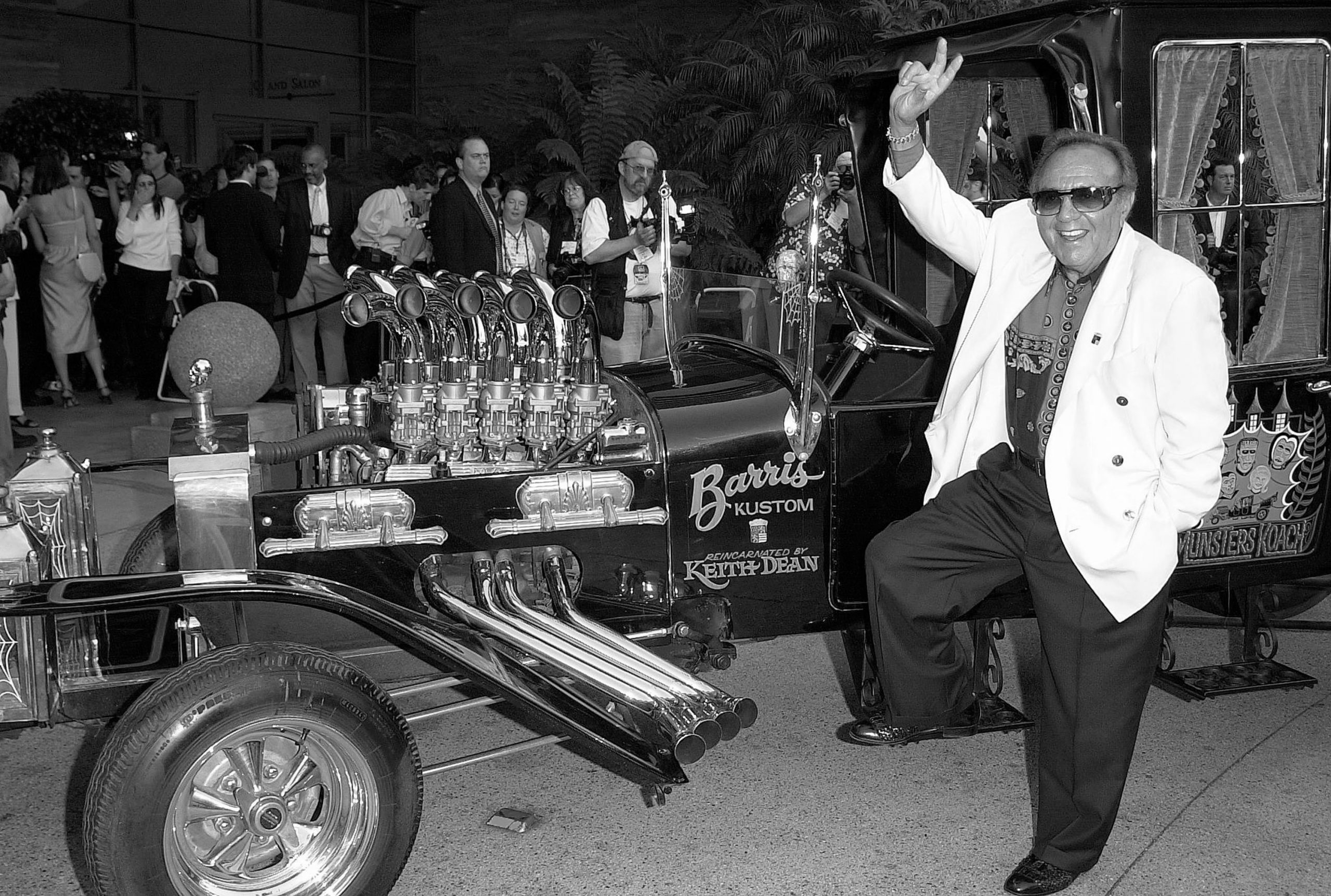 Builder George Barris with the Munster Koach. Online USA via Getty Images