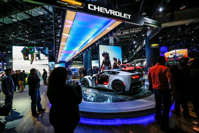The Corvette ZR1 greets attendees as they enter the doors of the 2019 North American International Auto Show at Cobo Center in downtown Detroit on Jan. 19, 2019. Kimberly P. Mitchell