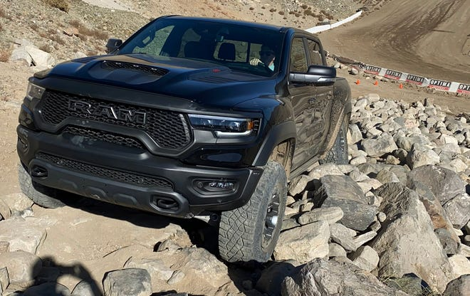 The 2021 Ram 1500 TRX pickup in rock climbing mode. Mark Phelan, Detroit Free Press