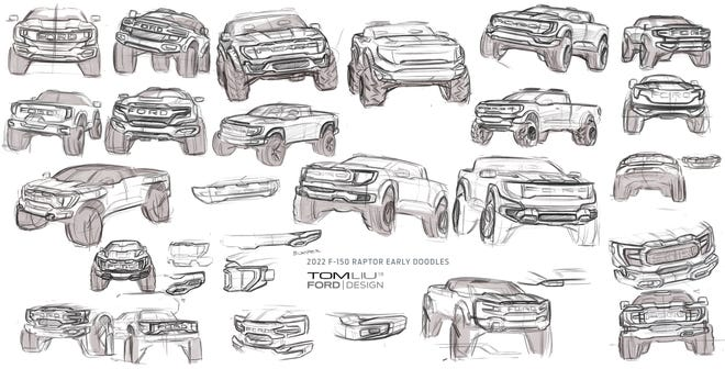 2021 Ford F-150 Raptor sketches by exterior designer Tom Liu. Ford Motor Co.
