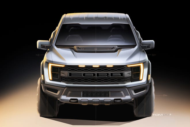 Sketch of the 2021 Ford F-150 Raptor by exterior designer Tom Liu. Ford Motor Co.
