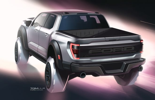 A sketch of the 2021 Ford Raptor by Tom Liu. Ford Motor Co.