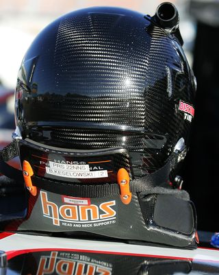 The HANS Head and Neck Support has helped NASCAR steer clear of racing deaths since 2001. TODD WARSHAW GETTY IMAGES