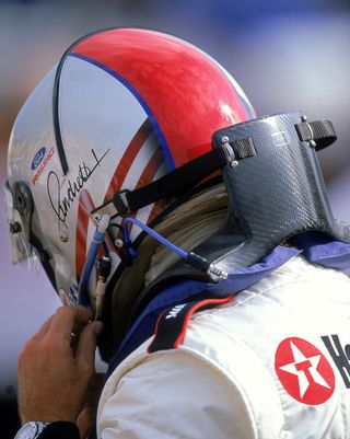 Michael Andretti was a proponent of the HANS device early on, sporting this version during the 2000 Indy-car season. ROBERT LABERGE GETTY IMAGES