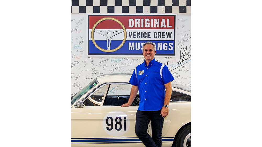 The limited-edition Shelby American Iconic Blue Team Shirt.  Photo: Courtesy of Original Venice Crew Apparel.