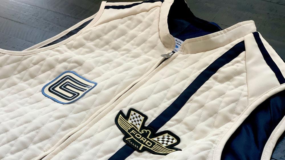The Ford v. Ferrari Carroll Shelby Crew Vest in white with blue stripes.  Photo: Courtesy of Original Venice Crew Apparel.