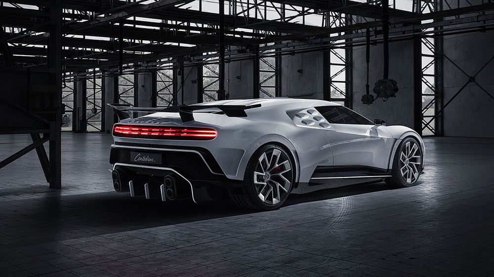 The Centodieci is equipped with an 8.0-liter W-16 engine capable of 1,600 hp.  Bugatti