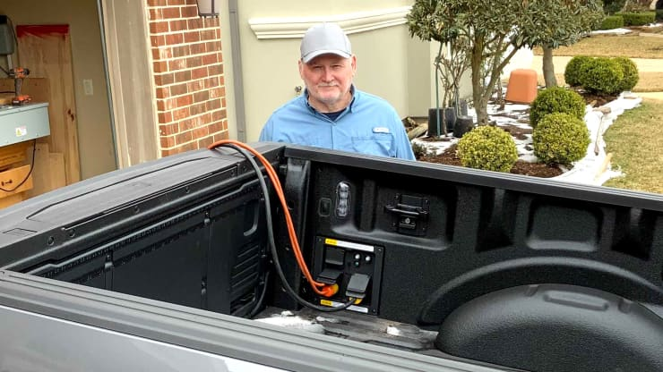 Randy Jones of Katy, Texas used his 2021 Ford F-150 to power space heaters and other appliances throughout his home when he lost power earlier this week during the winter storm. Source: Randy Jones