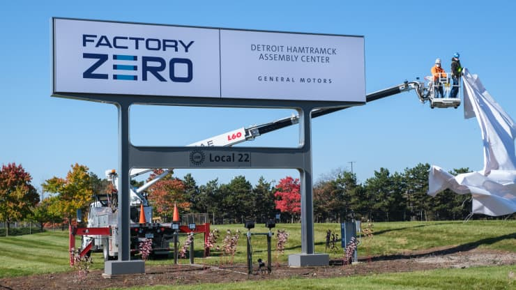 A sign is unveiled at General Motors Detroit-Hamtramck Assembly on Oct. 16, 2020, introducing the facility's new name: Factory Zero, Detroit-Hamtramck Assembly Center. GM