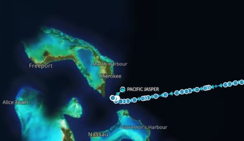 The Pacific Jasper, initially bound for U.S. Gulf, has changed its course near the Bahamas