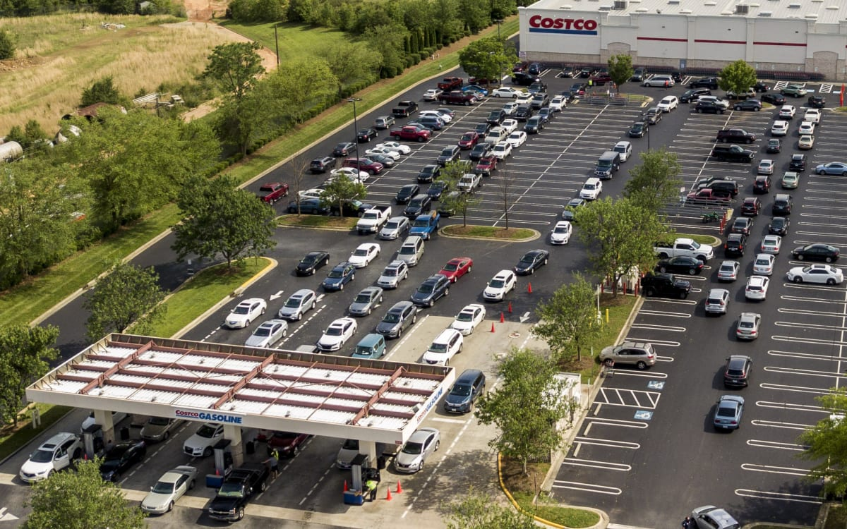 Gas lines at a Costco in Greensboro, N.C. (AP)