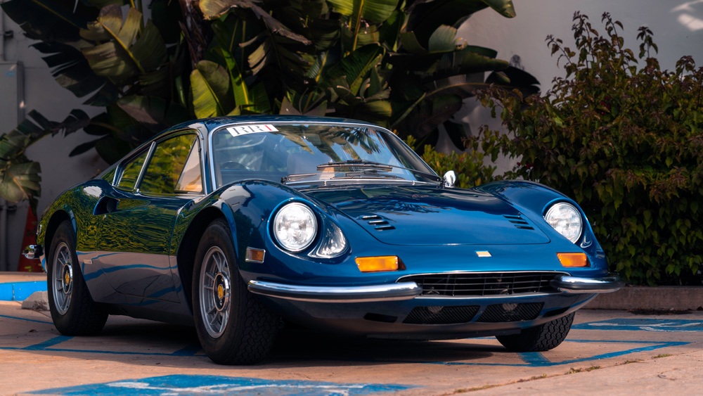 The 1972 Dino 246 GT painted factory-correct Blue Dino Metallizzato.  Photo by WayUp Media.
