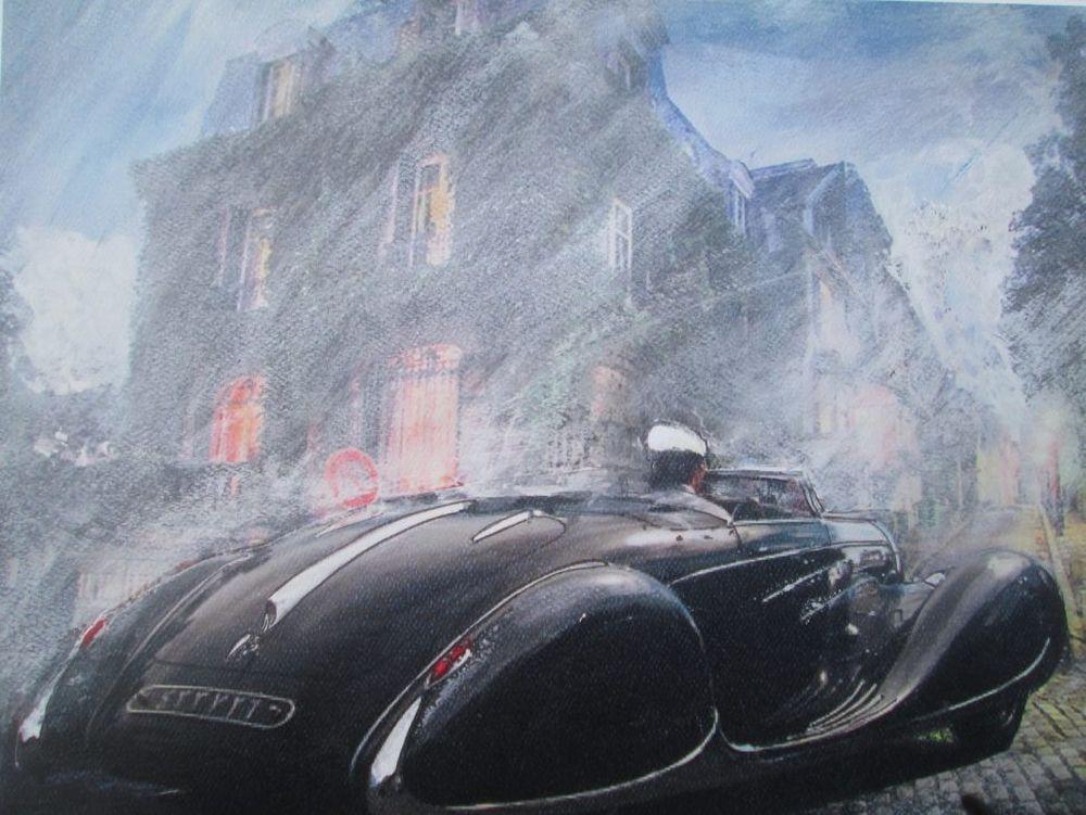 Prewar Bugatti, original artwork by Wallace Wyss.
