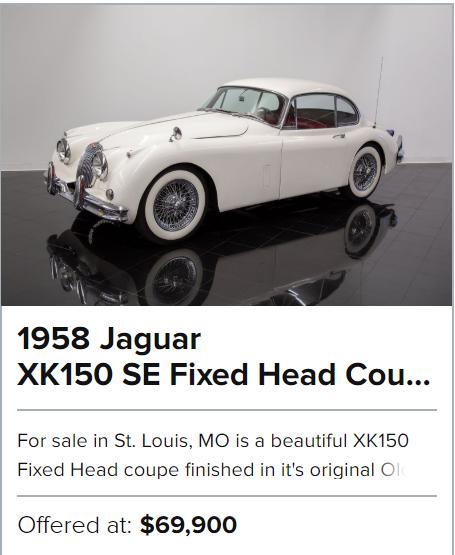 1958 Jaguar XK150 SE Fixed Head Coupe for sale