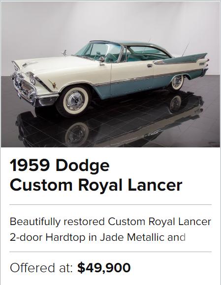 For Sale 1959 Dodge Custom Royal Lancer