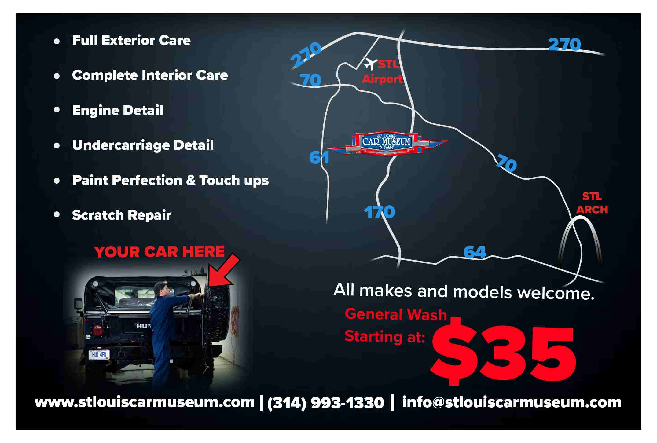 complete vehicle detailing at the St. Louis Car Museum