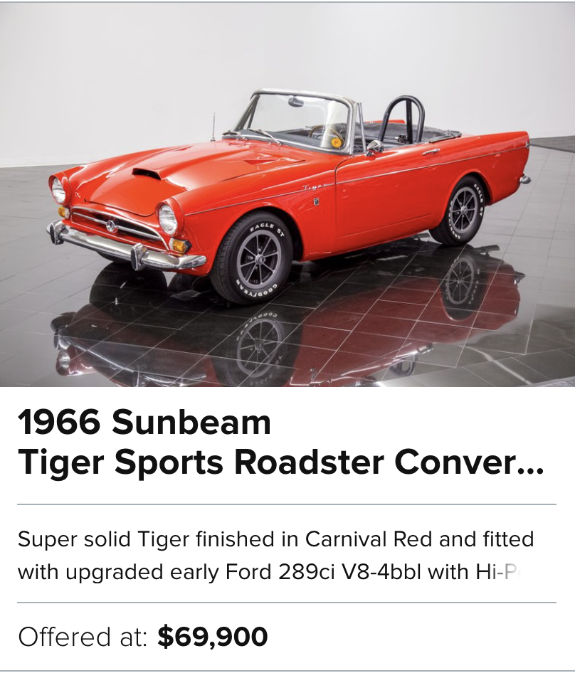 For Sale 1966 Sunbeam Tiger Sports Roadster Convertible
