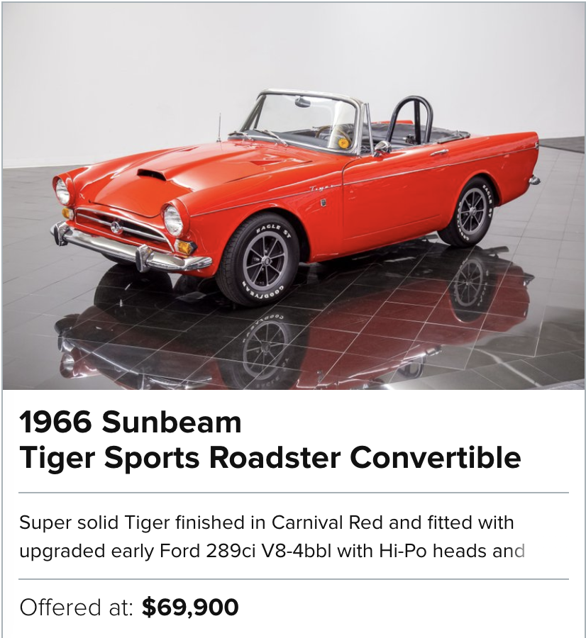 1966 Sunbeam Tiger Sports Roadster Convertible for sale