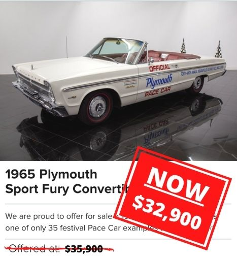 1965 Plymouth Sport Fury Convertible Pace Car for sale