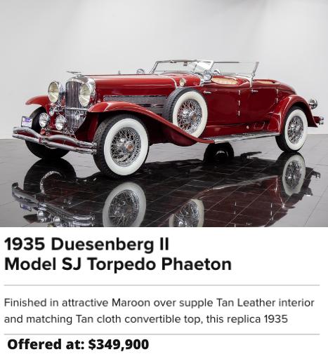 For Sale 1935 Duesenberg II Model SJ Torpedo Phaeton