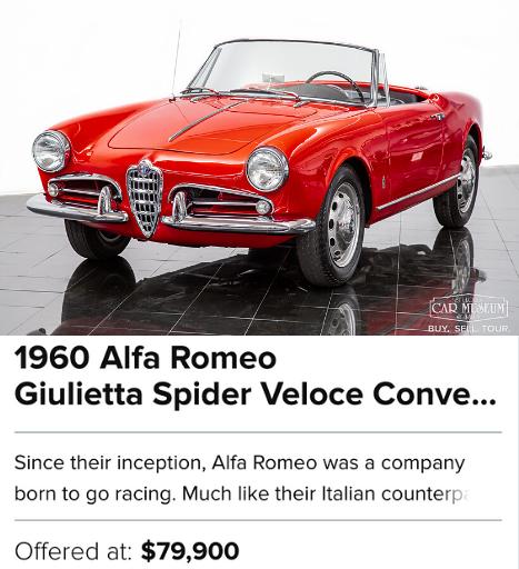 1960 Alfa Romeo Giulietta Spider Veloce Convertible for sale
