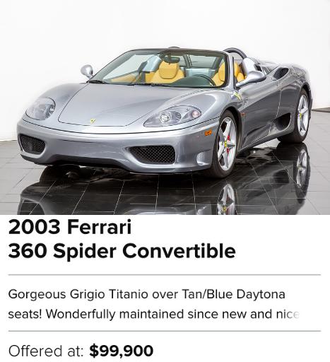 2003 Ferrari 360 Spider Convertible for sale